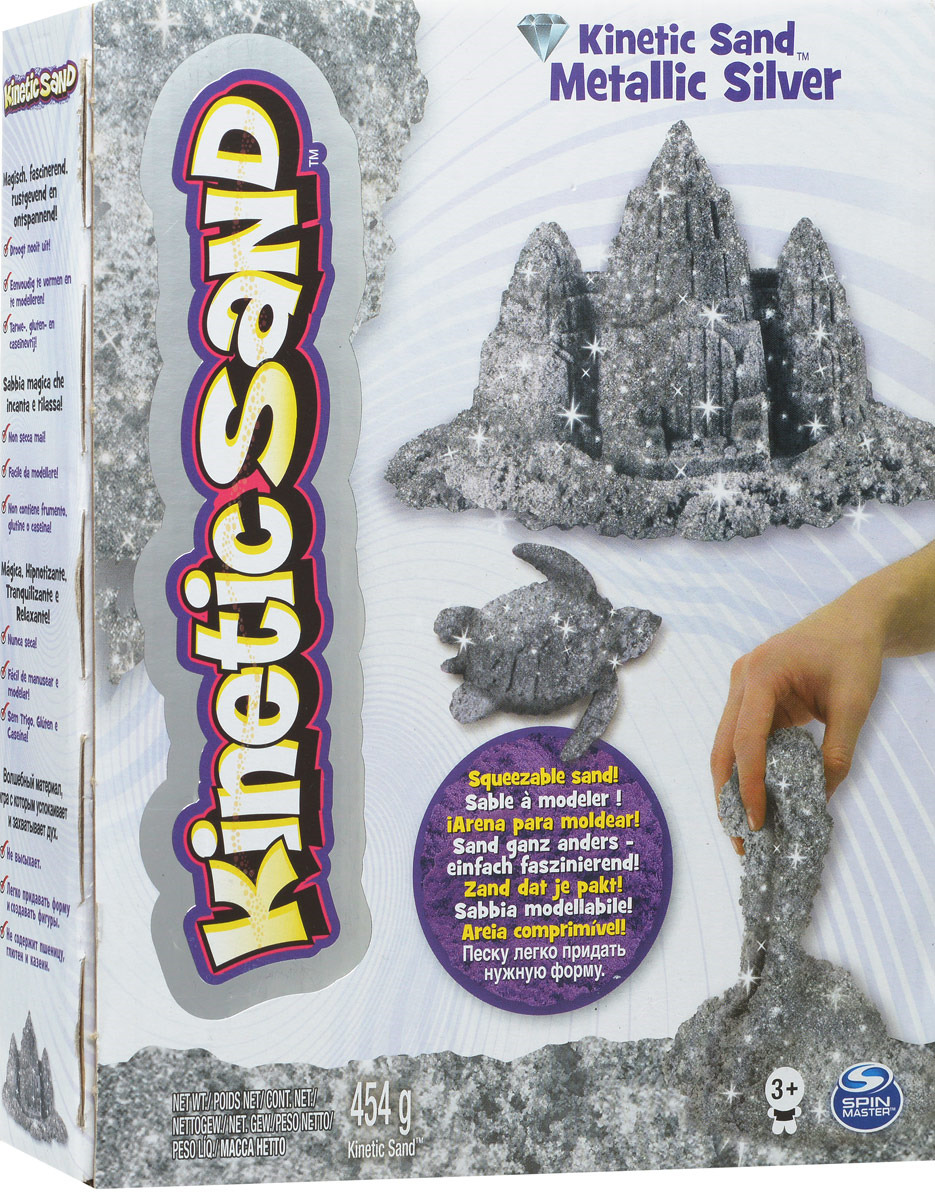 Песок для лепки Kinetic Sand Metallic Silver, 71408-0023, серебристый