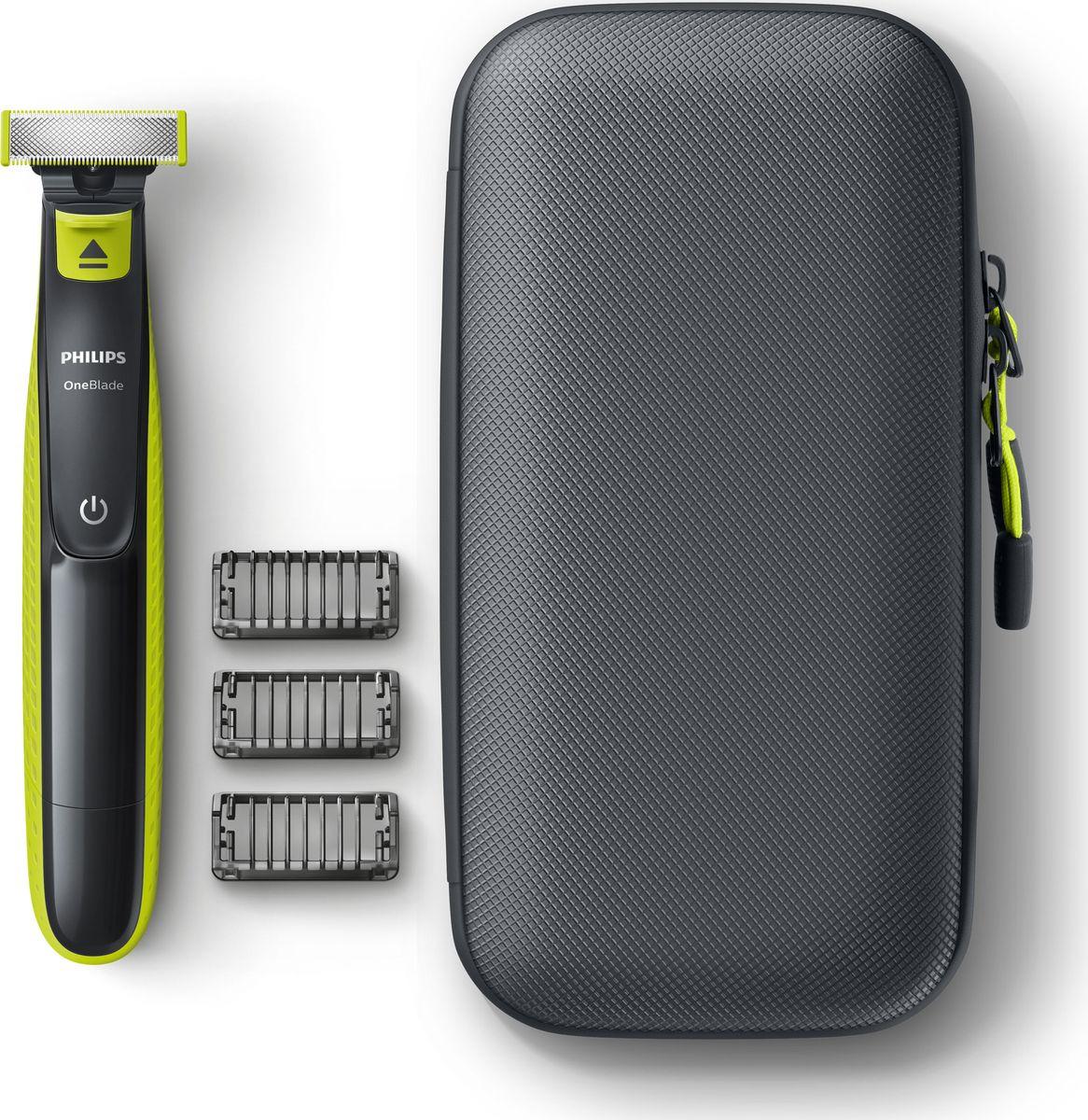 Триммер для бороды и усов Philips OneBlade, QP2520/64, черный, зеленый аксессуар сменное лезвие philips qp210 oneblade oneblade pro 1шт