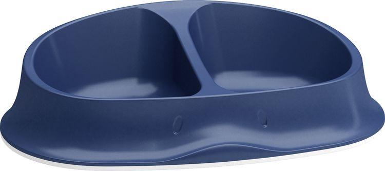 Миска для животных Stefanplast Chic Double, двойная, нескользящая, темно-синий, 2 х 250 мл