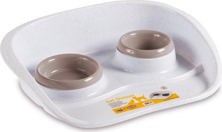 Подставка для мисок животных Stefanplast Set Dinner, с 2 мисками, белый, пудровый, 200 мл + 300 мл