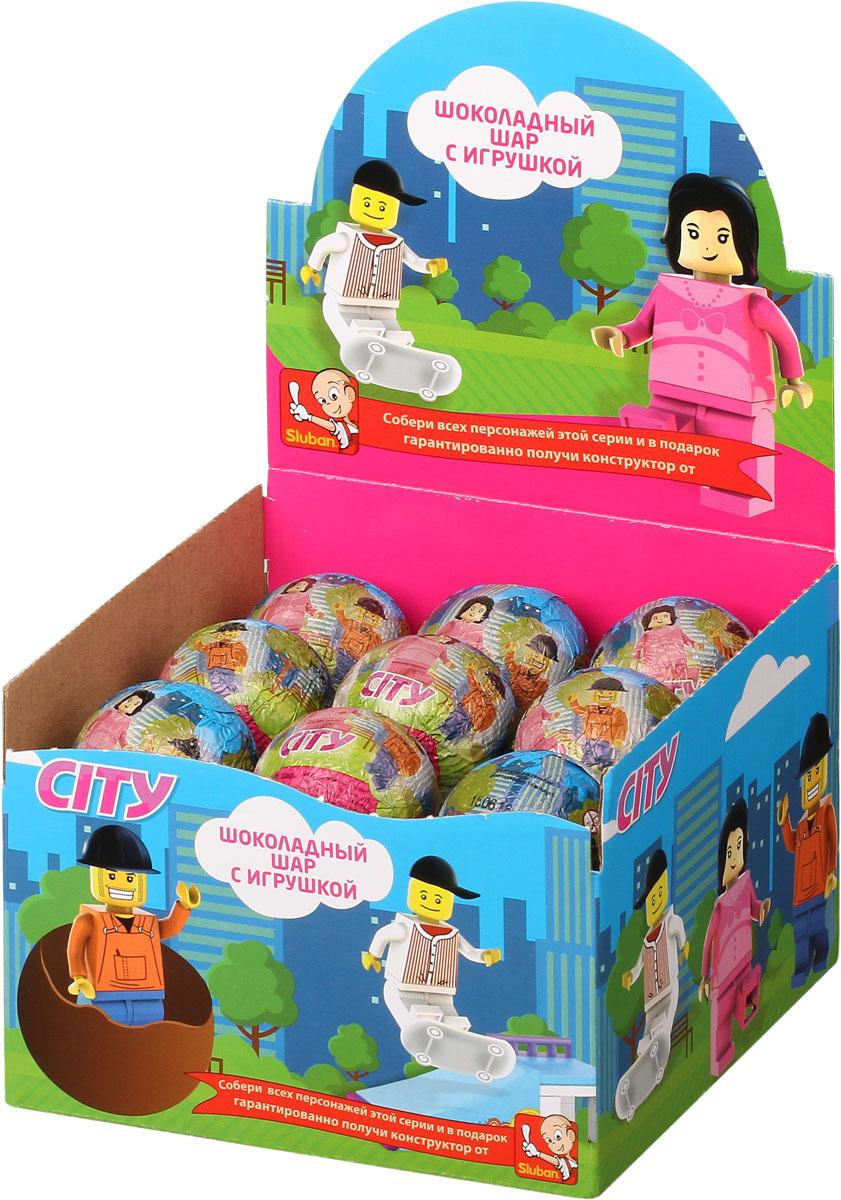 Шоколадное яйцо Sluban City, 18 шт по 25 г детское лего sluban airbus lego b0366