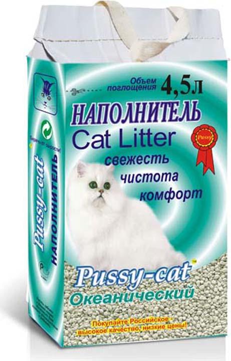 Наполнитель для кошачьего туалета Pussy-Cat Океанический, 13937, впитывающий, 4,5 л pussy bow semi sheer blouse