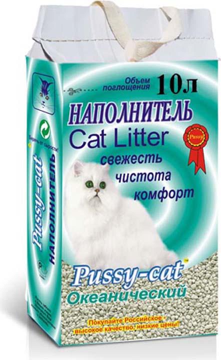 Наполнитель для кошачьего туалета Pussy-Cat Океанический, 59661, впитывающий, 10 л pussy bow semi sheer blouse