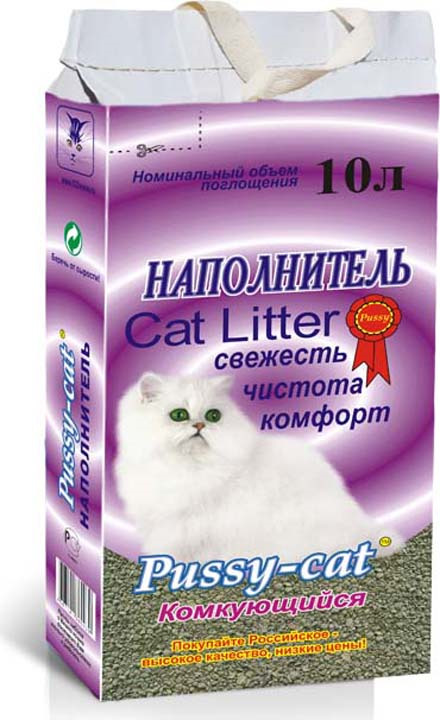 Наполнитель для кошачьего туалета Pussy-Cat, 59662, комкующийся, 10 л наполнитель для кошачьего туалета cc cat древесный 8 л