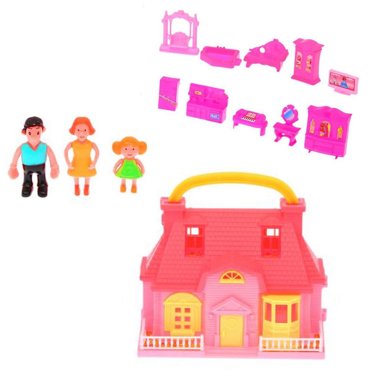 Дом для кукол, 1844125, складной, с фигурками и мебелью