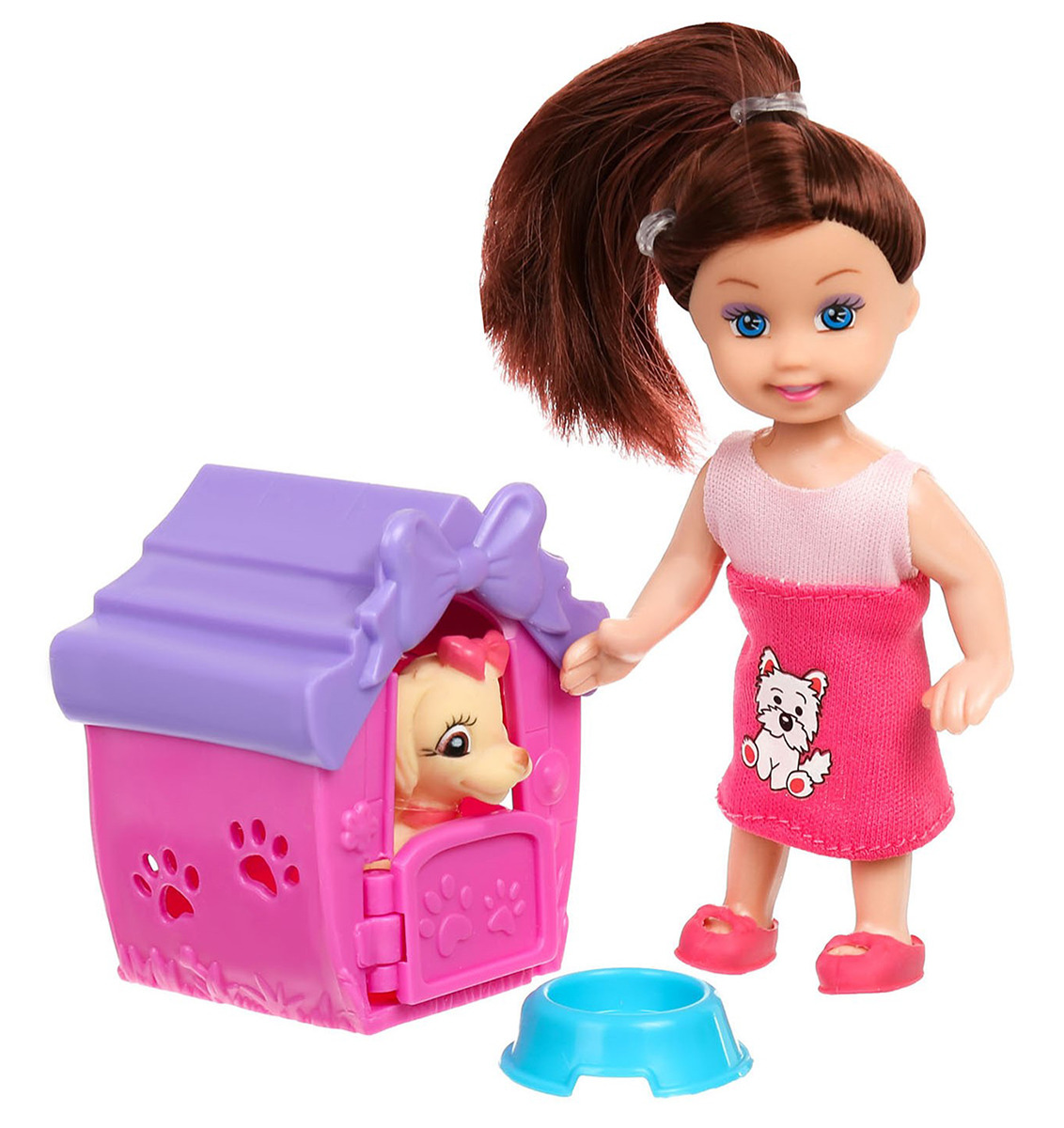 "Кукла-малышка ""Ева"", 2902005, с собачкой, с аксессуарами, 10 см"