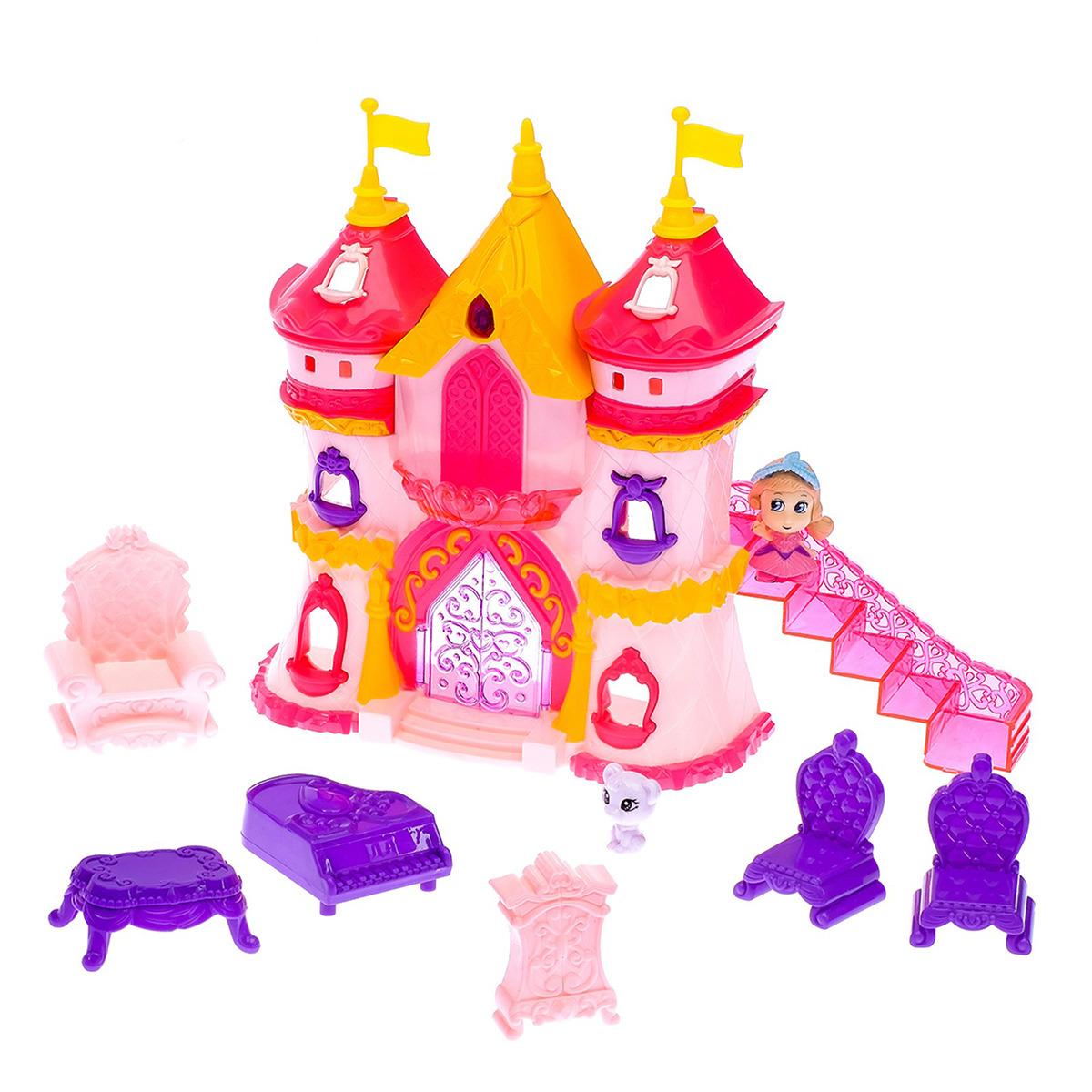 Замок для кукол, 2926882, с двумя башнями, мебелью и фигурками замок с башнями в коробке treetone
