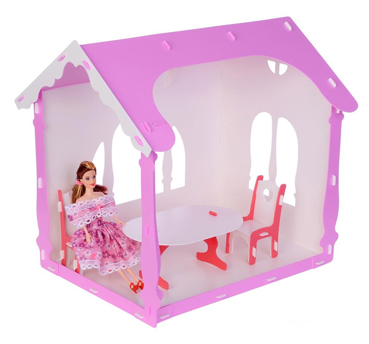 Дом для кукол Replace and Choose Летний дом Вероника, 3494266, с мебелью, белый, розовый replace and choose домик для кукол летний дом вероника бело с мебелью