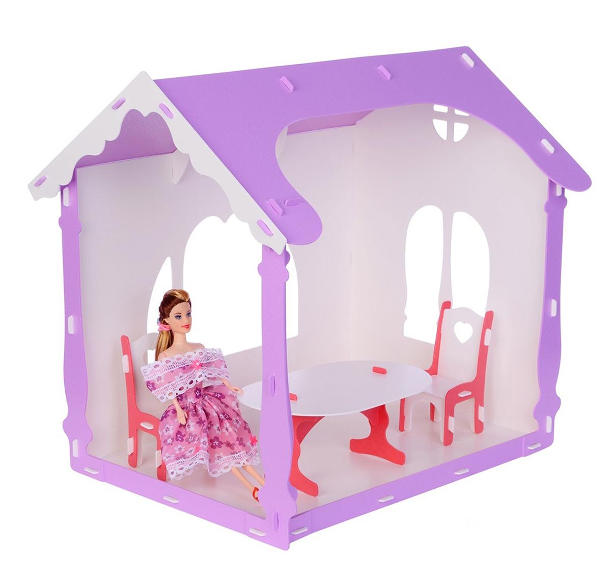 Дом для кукол Replace and Choose Летний дом Вероника, 3494267, с мебелью, белый, сиреневый replace and choose домик для кукол летний дом вероника бело с мебелью