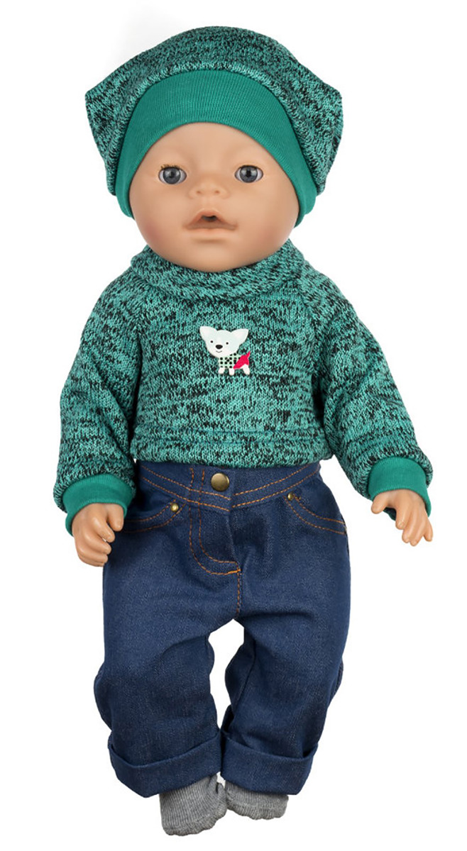 "Одежда для кукол КуклаПупс ""Комплект: свитер, джинсы, носочки, шапка"", 3666429"
