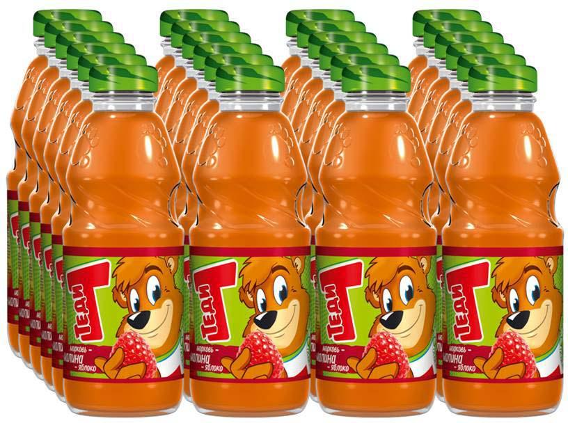 """Напиток сокосодержащий Теди """"Морковь, яблоко, малина"""", 20 шт по 300 мл"""