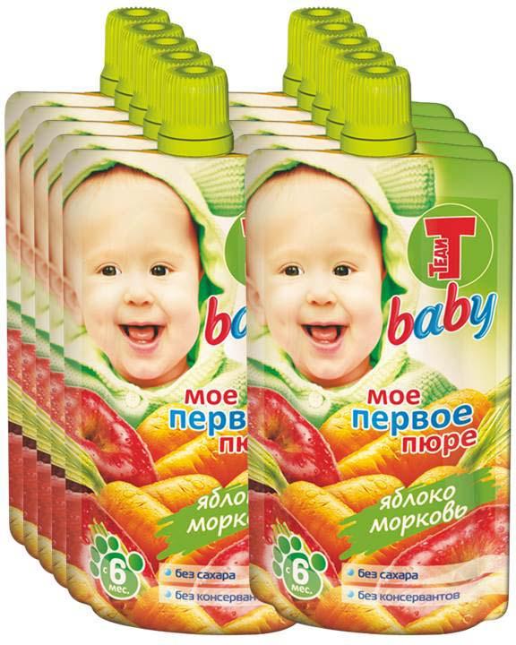 Пюре Теди Baby яблоко, морковь, с 6 месяцев, 12 шт по 100 г
