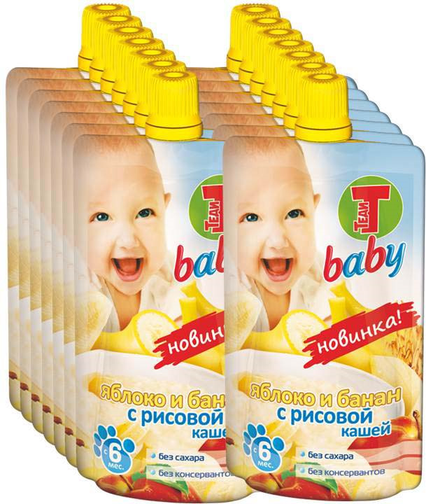 Пюре Теди Baby яблоко, банан с рисовой кашей, с 6 месяцев, 12 шт по 100 г