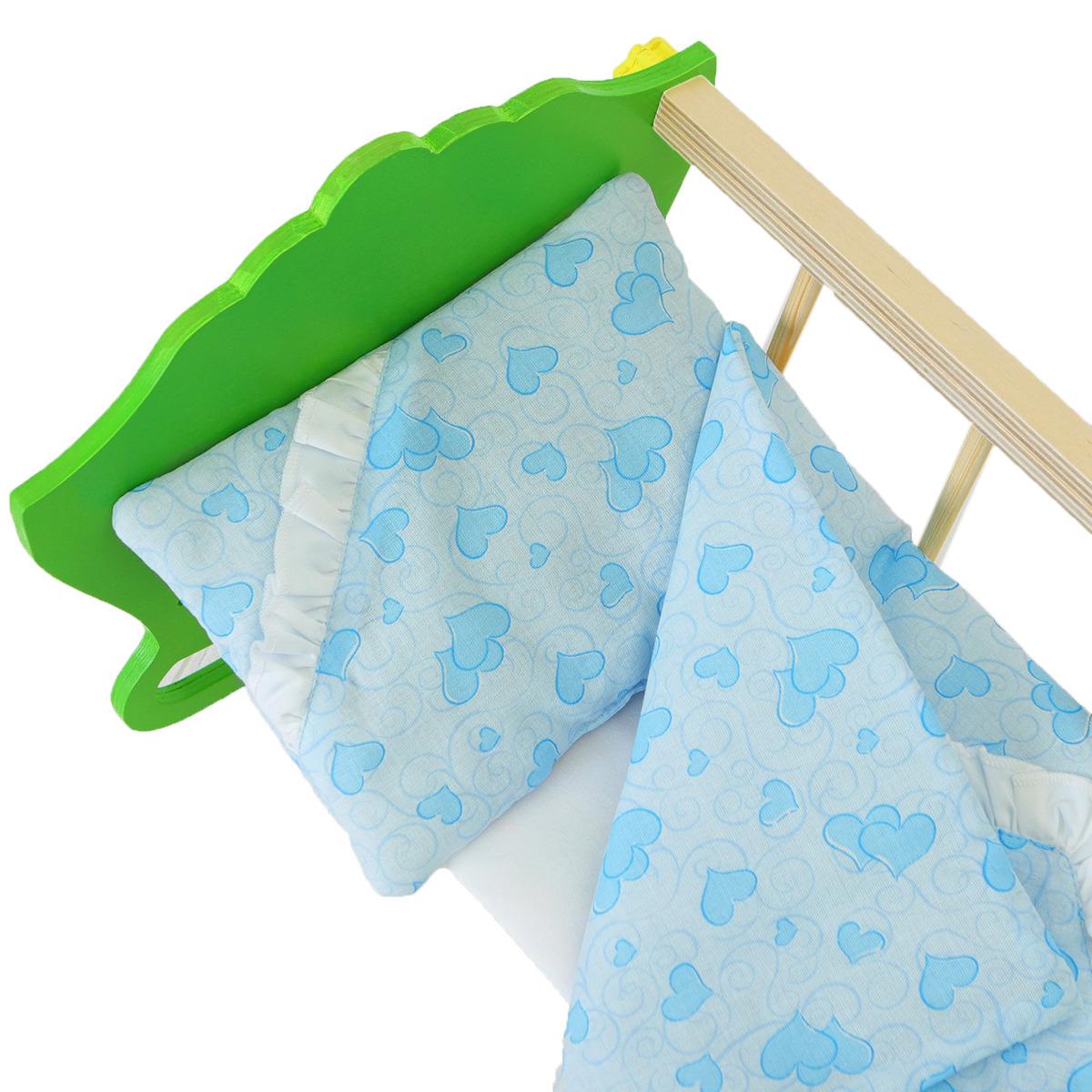 Постельное белье для куклы Страна Карнавалия Сердечки голубые: простынь, одеяло, подушка, 40164634016463Все девочки любят играть с пупсами. А у каждого пупса, как у настоящего малыша, должны быть свои наряды и аксессуары. С ними играть станет еще веселее!