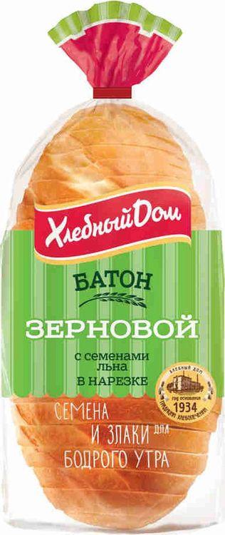 Хлеб Хлебный Дом Батон зерновой с семенами льна, 280 г