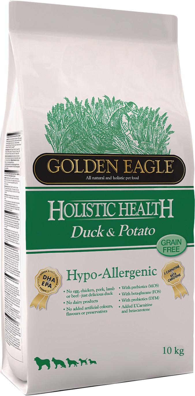 Корм сухой Golden Eagle Holistic Dog Adult Hypo-Allergenic Duck&Potato, для взрослых собак, на основе утки с картофелем, 10 кг golden eagle holistic health power formula для активных собак 12кг 233834