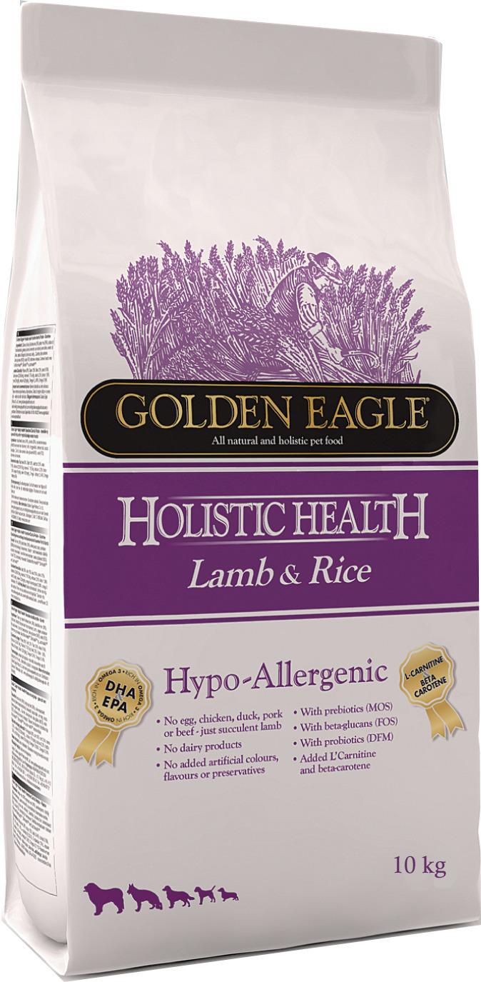 Корм сухой Golden Eagle Holistic Dog Adult Hypo-Allergenic Lamb&Rice, для взрослых собак, на основе ягненка и риса, 10 кг golden eagle holistic health power formula для активных собак 12кг 233834