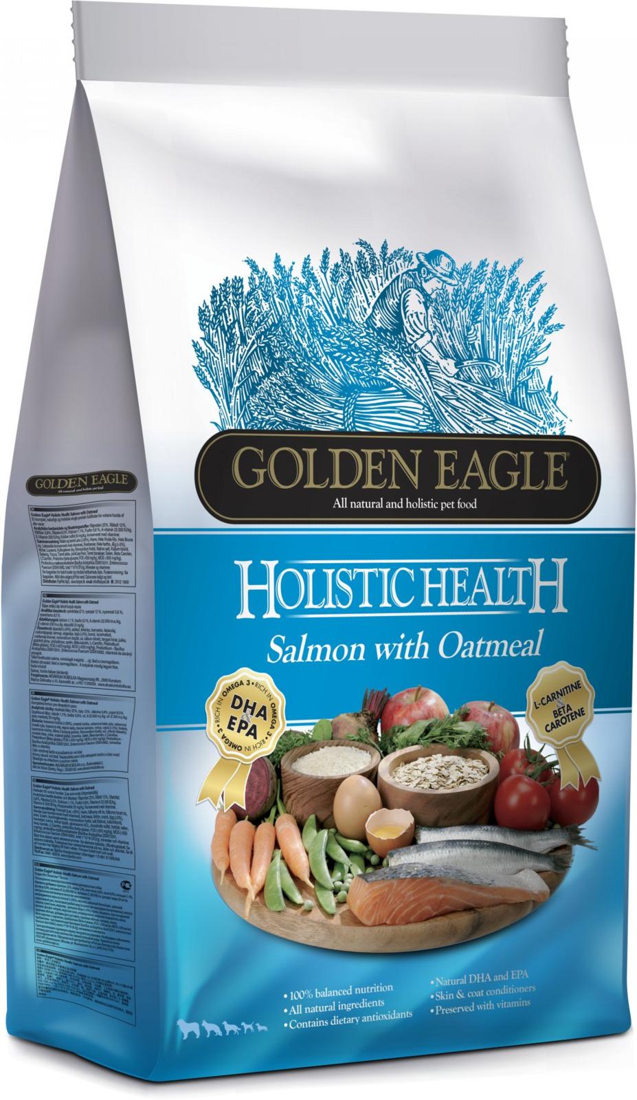 Корм сухой Golden Eagle Holistic Dog Adult Salmon&Oatmeal, для взрослых собак, на основе лосося с овсянкой, 12 кг golden eagle holistic health power formula для активных собак 12кг 233834