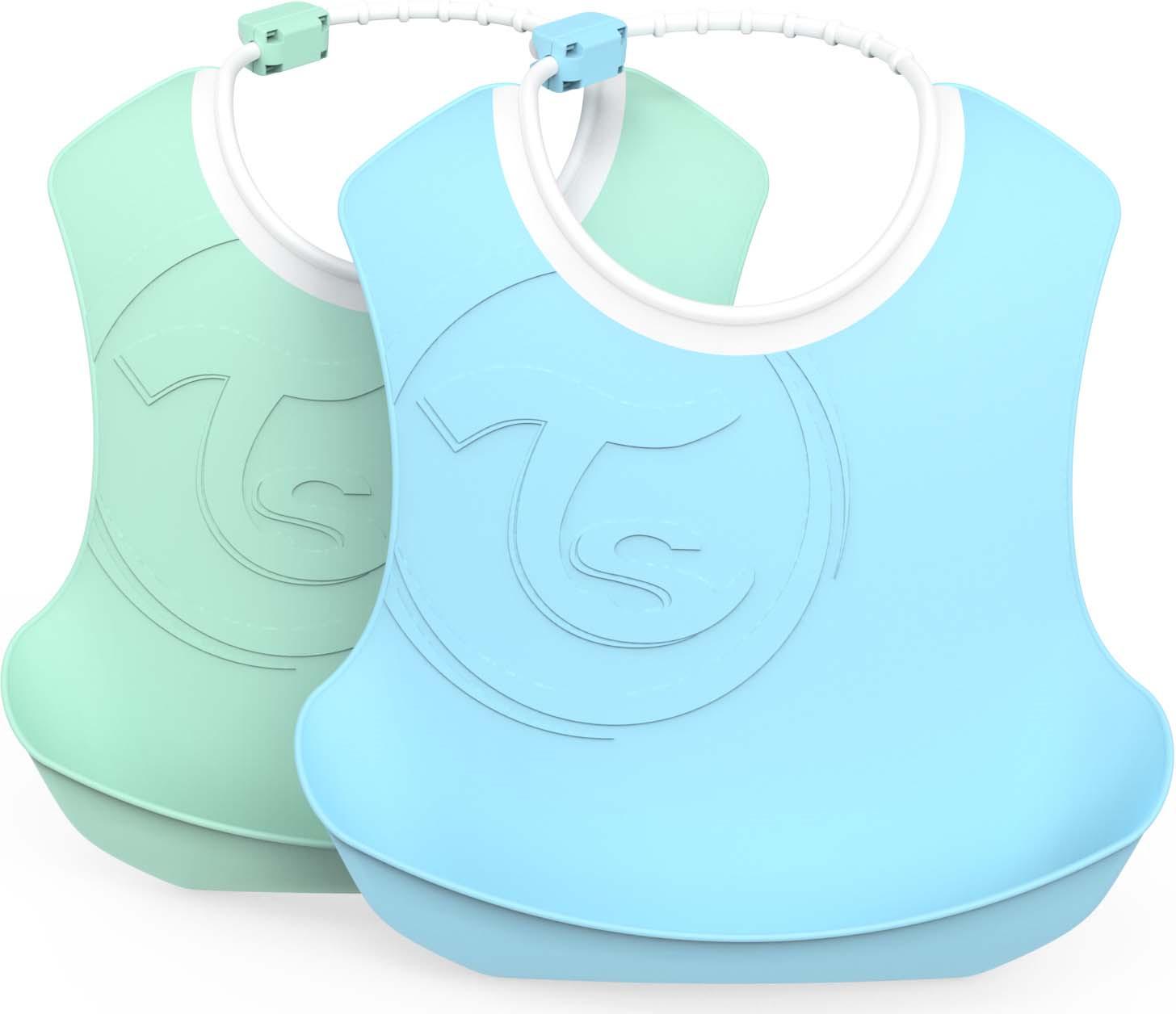 Слюнявчик Twistshake Pastel, 78220, синий, зеленый, 2 шт