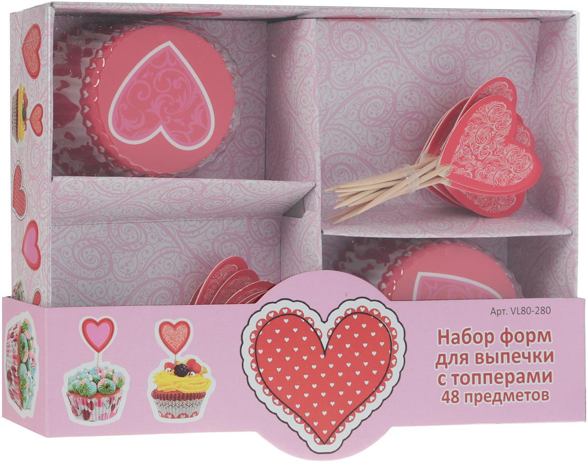 Набор форм для выпечки Мультидом, с топперами, 48 предметов. красное сердце VL80-280