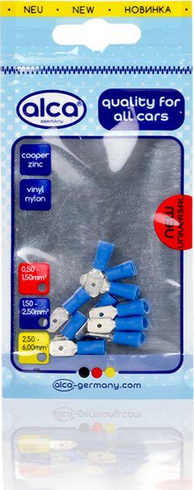 Наконечник плоский Alca, 640560, 6.35 мм, синий, 10 шт640560Наконечник плоские для подключения кабелей синие 6,35мм 10шт. Сечение провода: 1,5-2,5mm2 (AWG 16-14), внутренний диаметр: 6,35мм. Толщина: 0,75mm. Изоляционная гильза: Нейлон, винил.