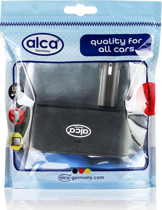 Розетка прикуривателя Alca, 510200, 12 В, 3 выхода + 1 USB, черный автопылесос alca 12в 60 вт