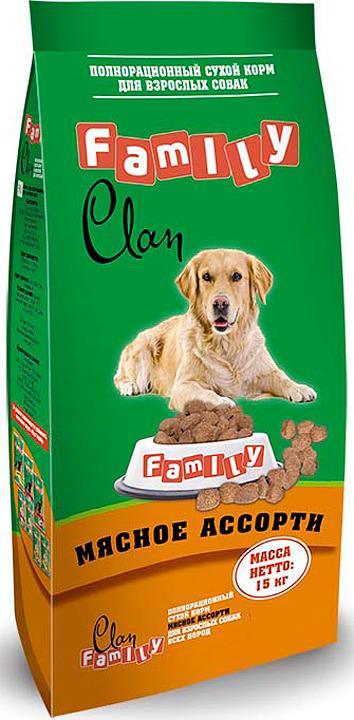 Корм сухой Clan Family, для собак, мясное ассорти, 15 кг сухой корм для собак наш рацион мясное ассорти 3 кг