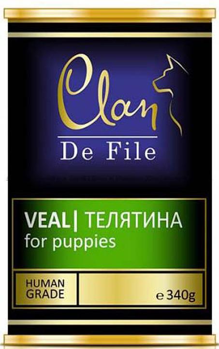 Корм консервированный Clan De File, для щенков, телятина, 340 г