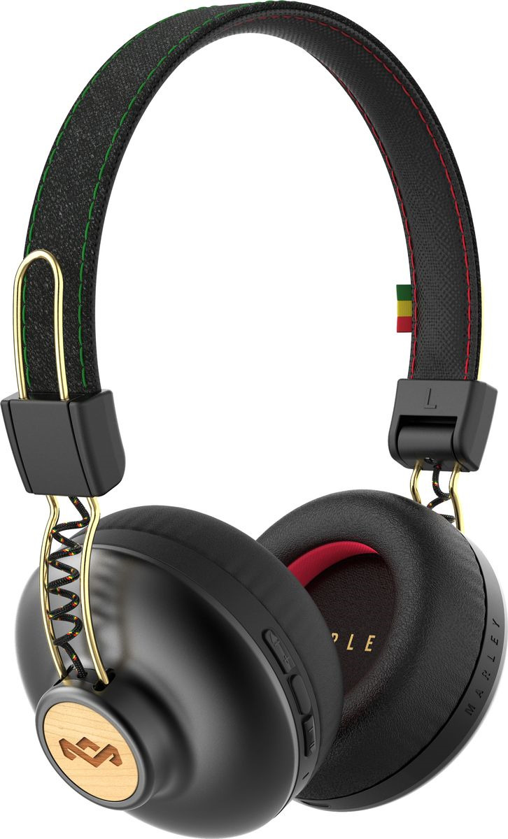 Bluetooth-гарнитура House of Marley Positive Vibration BT, EM-JH133-RA, Rasta marley positive vibration 2 denim наушники гарнитура