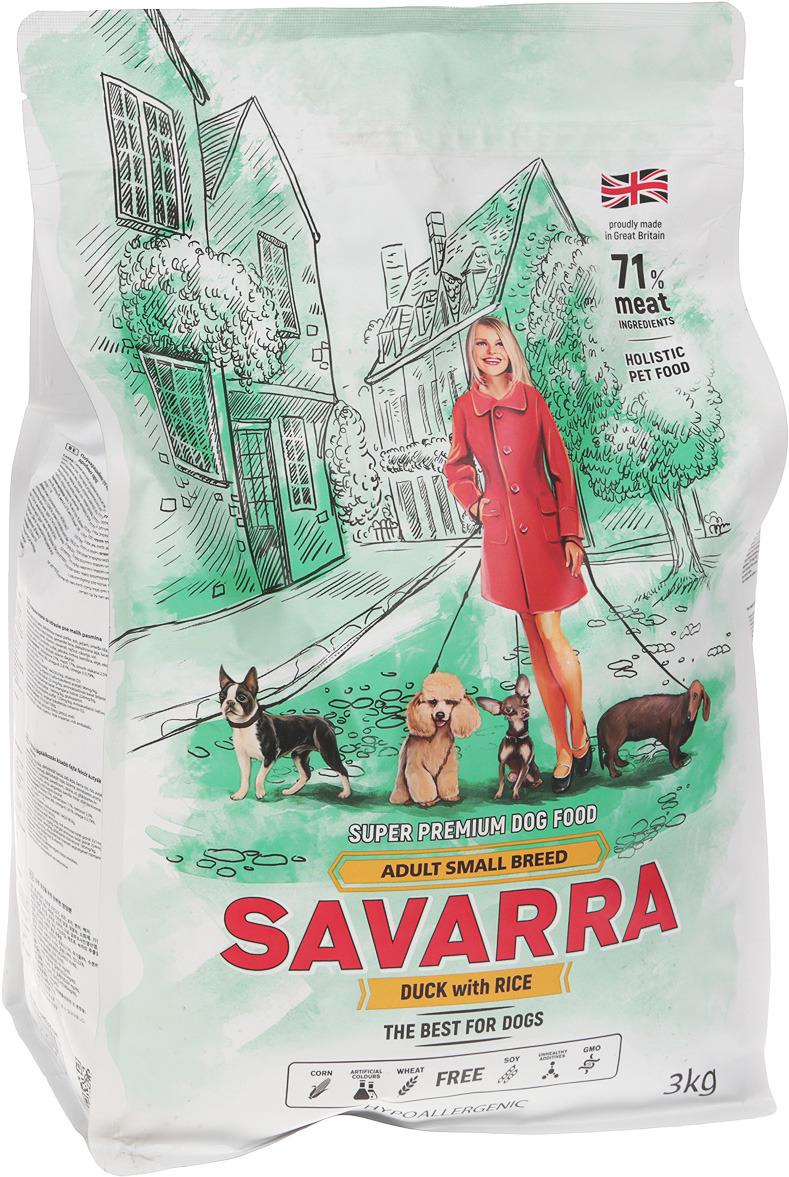 """Корм сухой """"Savarra"""" для взрослых собак мелких пород, с уткой и рисом, 3 кг"""