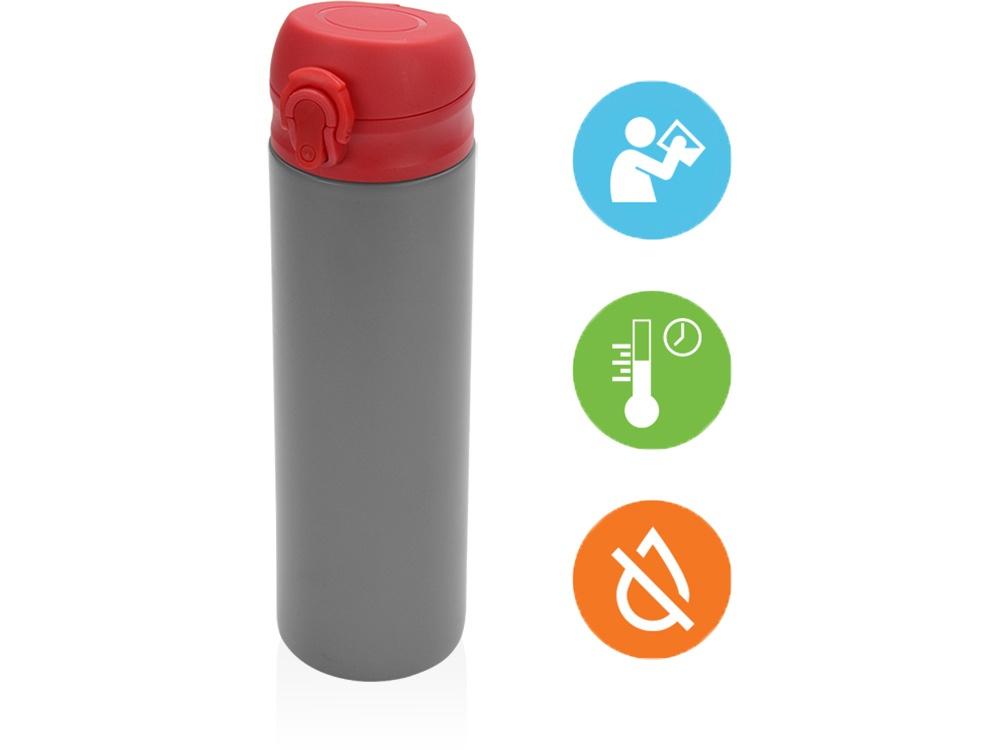 Термокружка Oasis «Хот», вакуумная термокружка, 840101, красный, серый