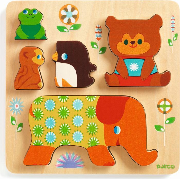 Пазл Djeco Прокатимся на слоне, 01056 деревянные игрушки djeco пазл забавные животные