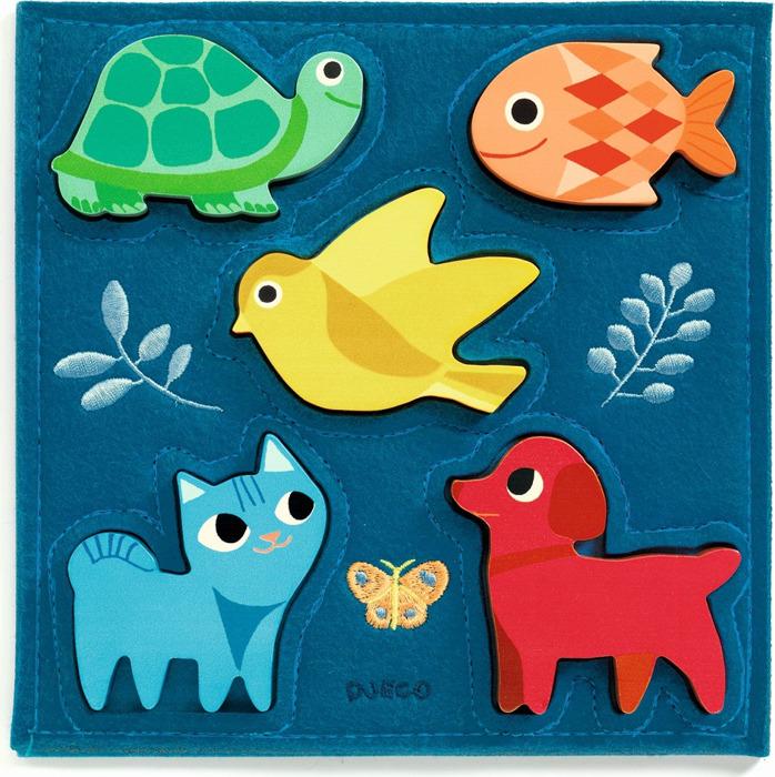 Пазл Djeco Котёнок и друзья, 01057 деревянные игрушки djeco пазл забавные животные