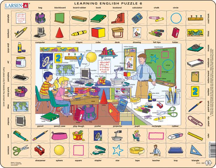 Фото - Пазл Larsen Изучаем английский 6, EN6 пазлы маленький гений пазлы лото предметы в доме