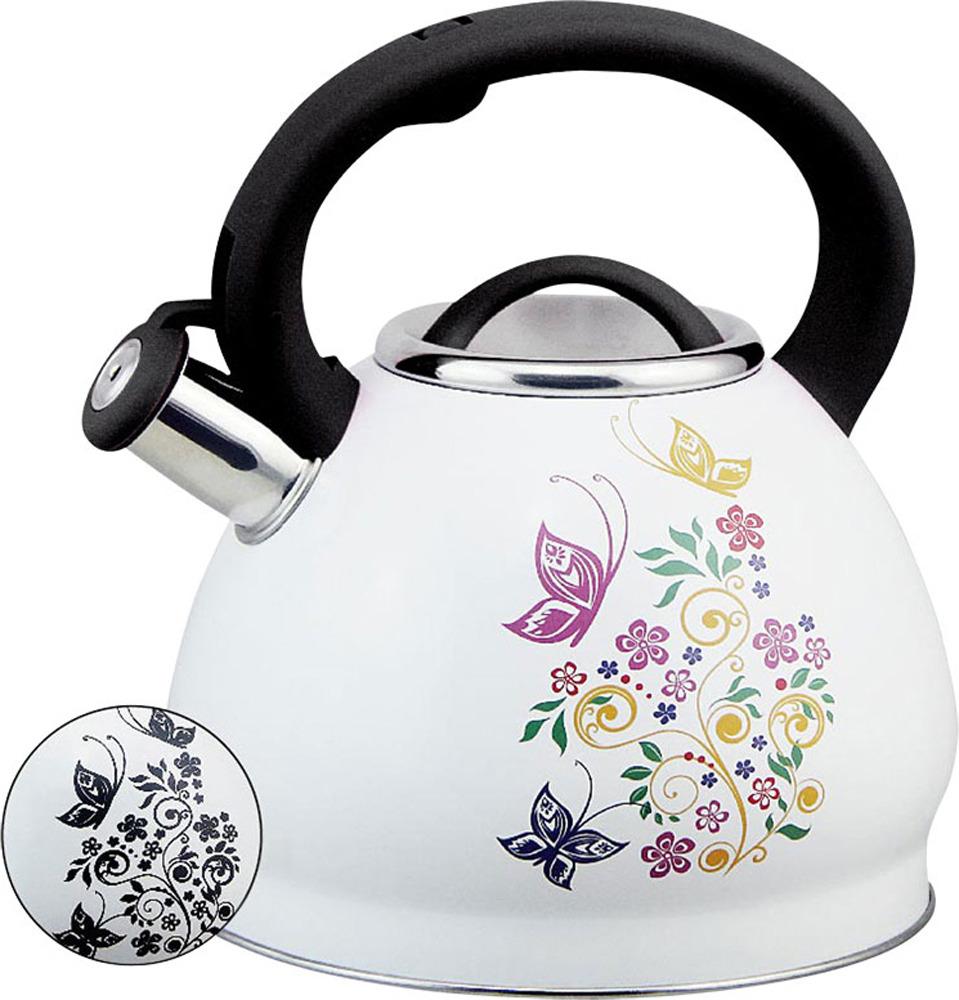 Чайник Rainstahl, 7628-30RS\WK БАБОЧКА, белый, 3 л чайник rainstahl со свистком цвет белый 3 л 7540 30rs wk