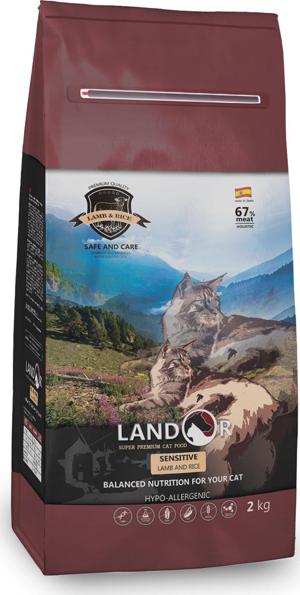 """Корм сухой """"Landor"""", полнорационный, для взрослых кошек с чувствительным пищеварением, ягненок, 400 г"""