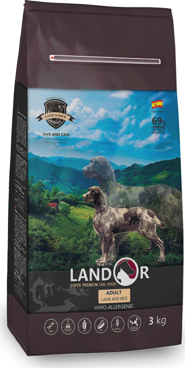 """Корм сухой """"Landor"""", полнорационный, для взрослых собак всех пород, ягненок с рисом, 3 кг"""