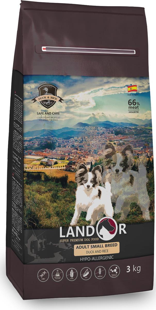 """Корм сухой """"Landor"""", полнорационный, для взрослых собак мелких пород, утка с рисом, 3 кг"""