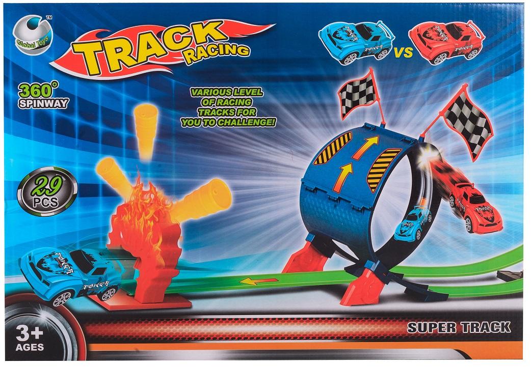 Автотрек S+S Мертвая петля 200094194, инерция, 2 машинки, 29 деталей автотрек s s toys 68814 с машинками в коробке