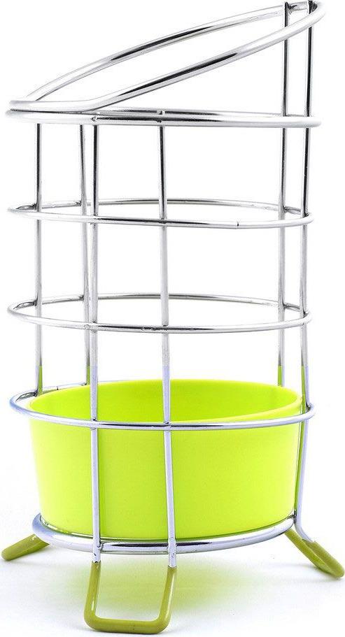 Подставка для столовых приборов Мультидом,  поддоном, цвет: зеленый, стальной, высота 13 см