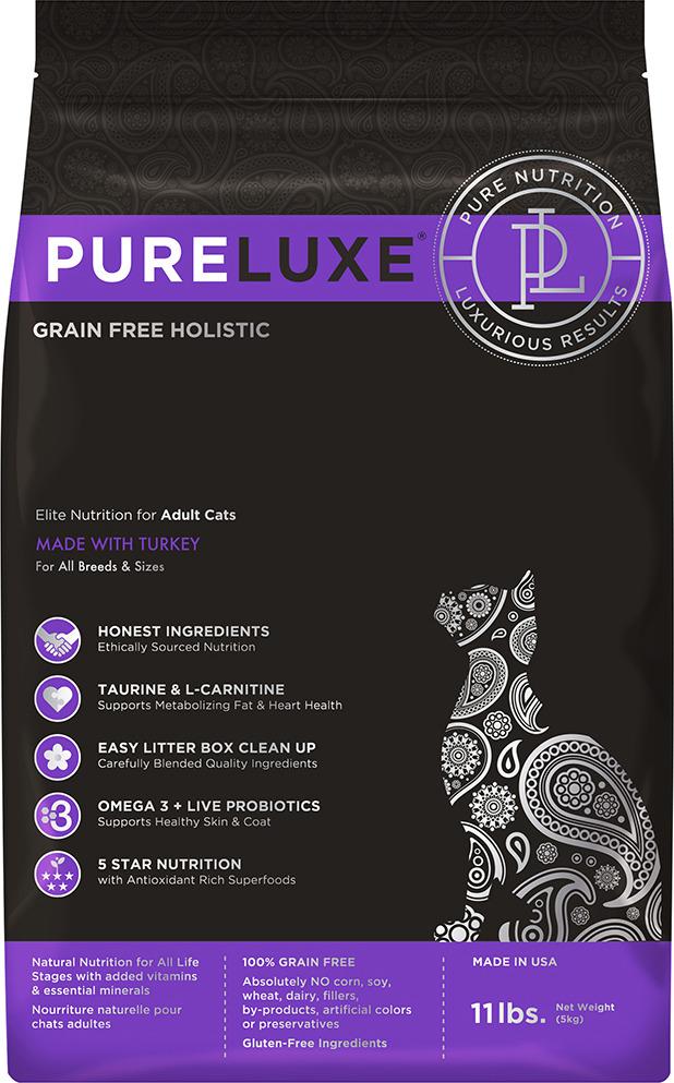 Корм сухой PureLuxe для взрослых кошек с индейкой, 1,5 кг добавка за масло