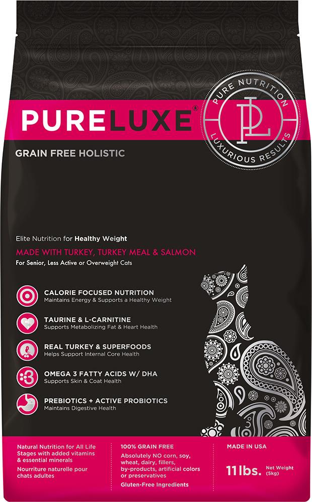 Корм сухой PureLuxe для нормализации веса кошек с индейкой и лососем, 1,5 кг добавка за масло