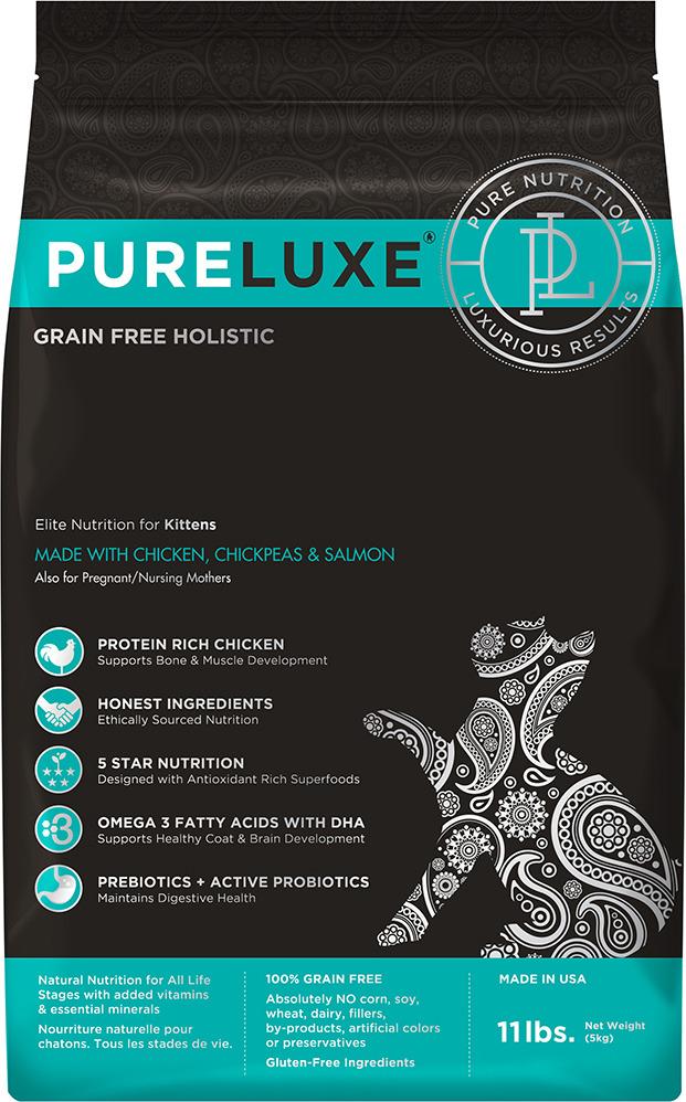 Корм сухой PureLuxe для котят с курицей, нутом и лососем, 5 кг добавка за масло