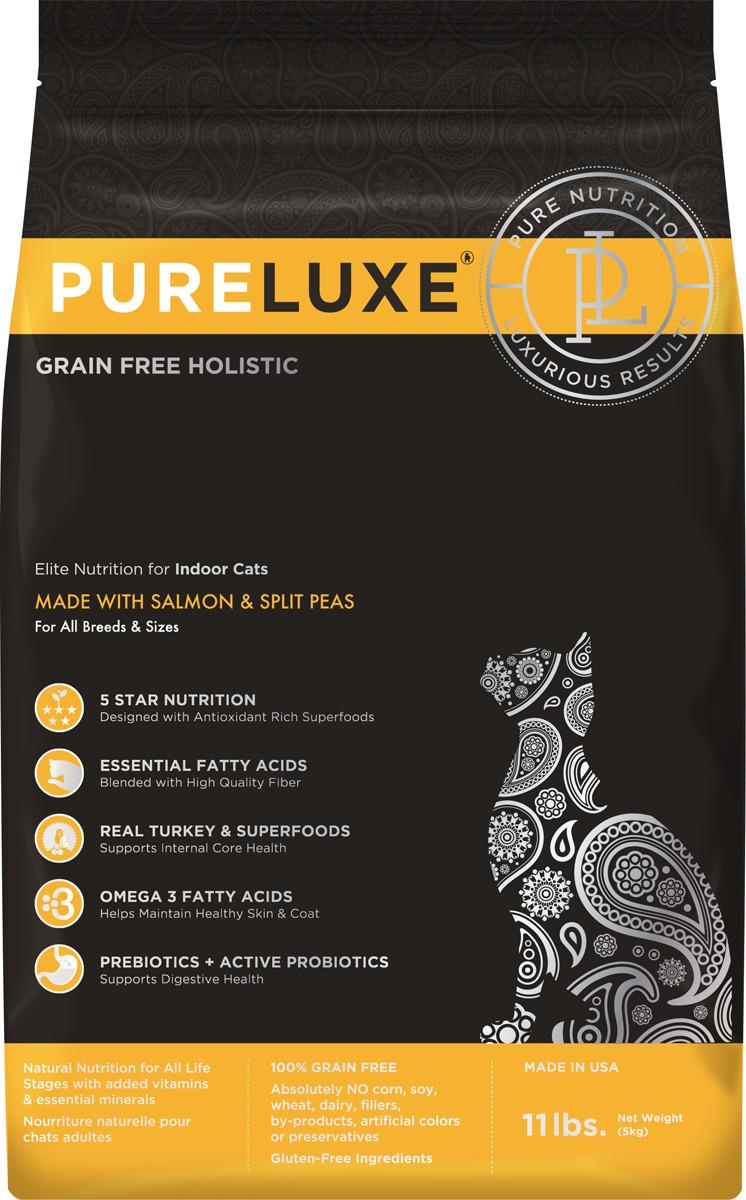 Корм сухой PureLuxe для домашних кошек с лососем и горошком, 5 кг добавка за масло