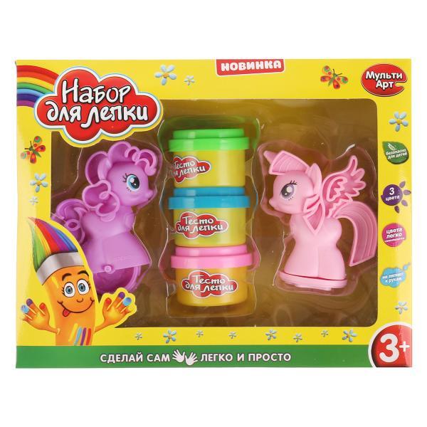 Набор теста для лепки MultiArt с игрушками пони, 260850, 3 цвета по 35 гр