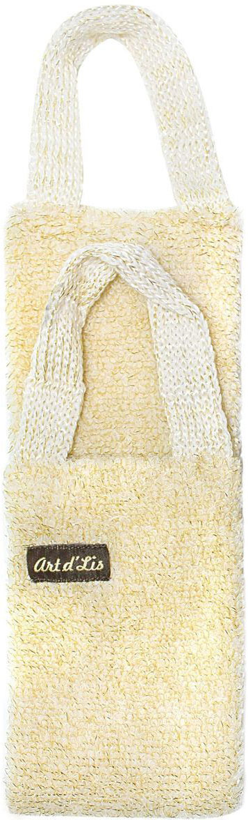 Мочалка Eva Букле. Золото, длинная, с ручками, цвет: молочный. Я287 мочалка eva букле полосы вязаная с ручками цвет розовый