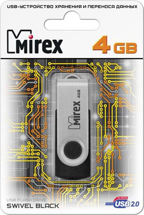 USB Флеш-накопитель Mirex Swivel Rubber, 13600-FMURUS04, 4GB, black usb флеш накопитель mirex shot 13600 fmuwst04 4gb white