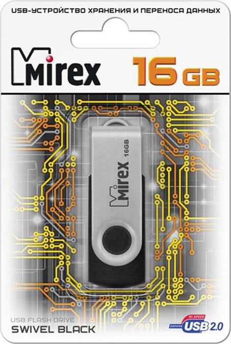 USB Флеш-накопитель Mirex Swivel Rubber, 13600-FMURUS16, 16GB, black usb флеш накопитель mirex shot 13600 fmuwst04 4gb white