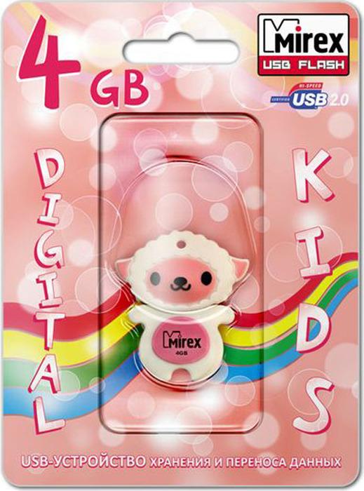 USB Флеш-накопитель Mirex Sheep, 13600-KIDSHP04, 4GB, pink usb флеш накопитель mirex shot 13600 fmuwst04 4gb white