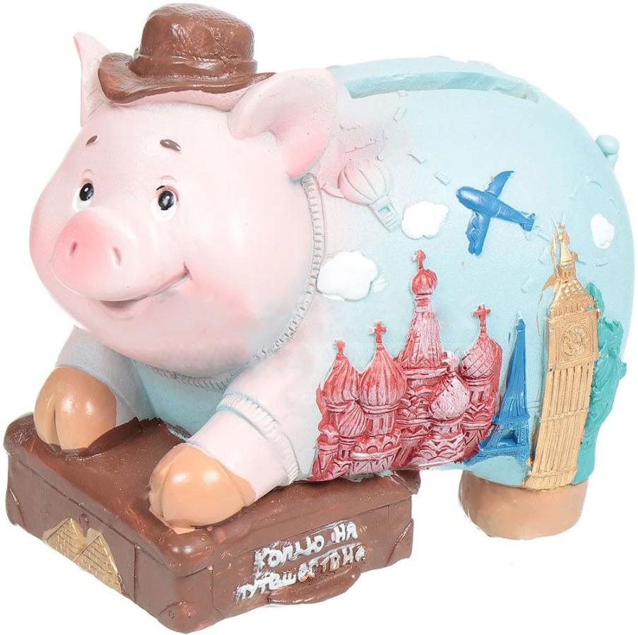 Декоративная копилка Magic Time Свин-путешественник, 12 х 7 х 9 см декоративная копилка magic time свин путешественник 12 х 7 х 9 см